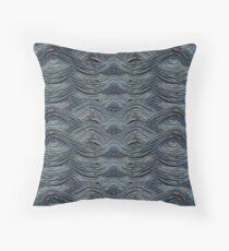 CRazy Oil PaintinG Blue/Grey Wavey Throw Pillow