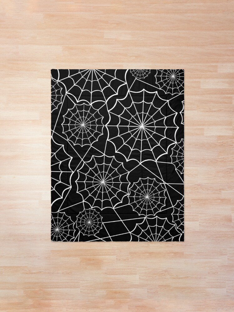 Alternate view of halloween spider web  Comforter