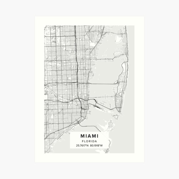 Miami FL Map Art Print