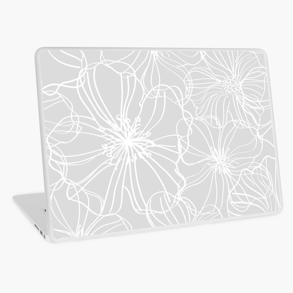 Flower Drawing, Gray and White Laptop Skin