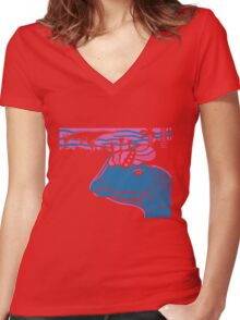 Dilophosaurus Duo - Magenta and Blue Women's Fitted V-Neck T-Shirt