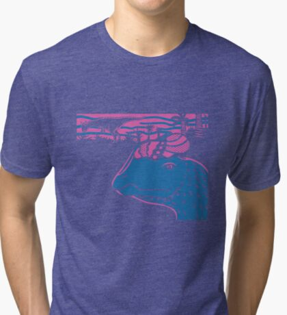 Dilophosaurus Duo - Magenta and Blue Tri-blend T-Shirt