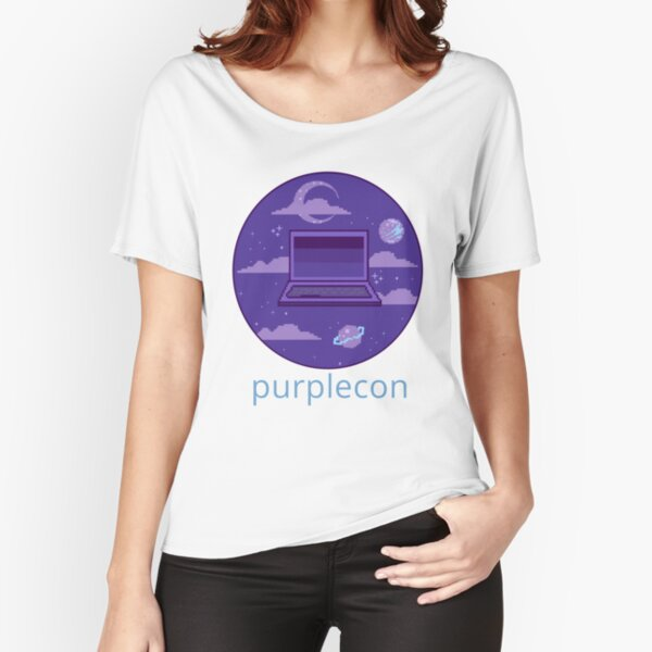 purplecon 2019 shirt 1 (for purple background) Relaxed Fit T-Shirt