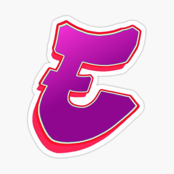 E - purple/red Sticker