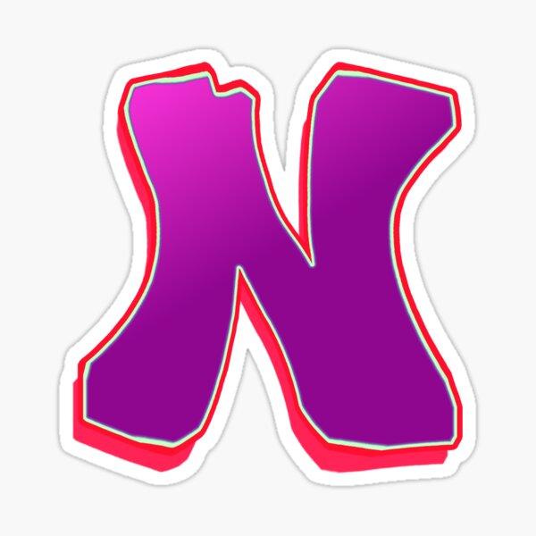 N - purple/red Sticker