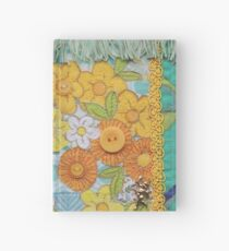 Vintage green and Yellow flowers, fabric collage Hardcover Journal