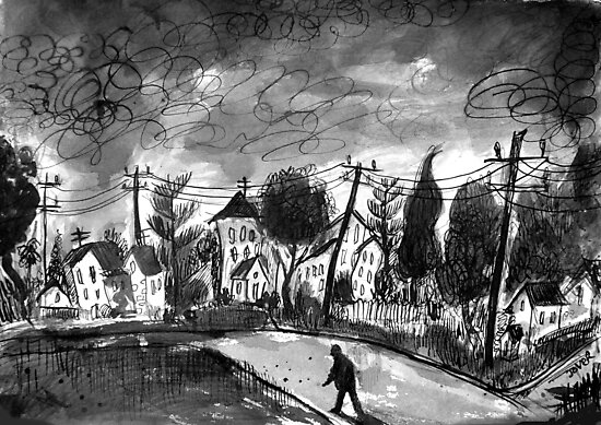 small town walk home by Loui  Jover