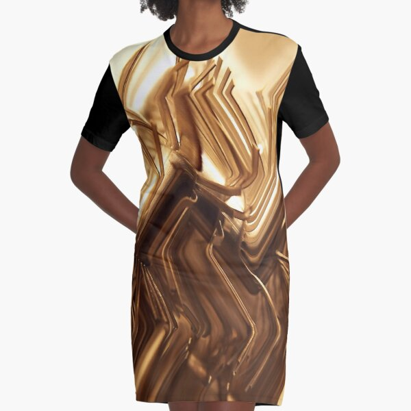 Wired Gold Graphic T-Shirt Dress