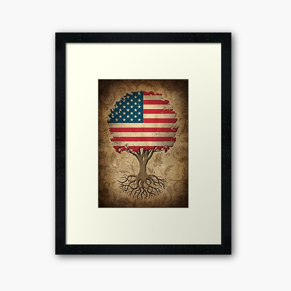 Tree of Life with American Flag Framed Art Print