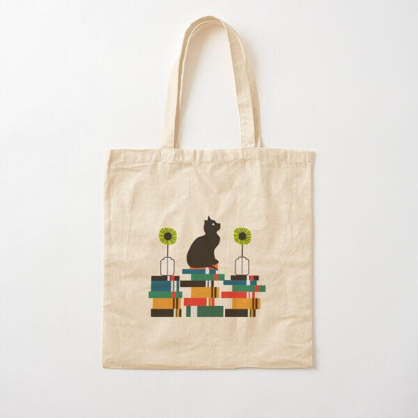 Cat, books and flowers Cotton Tote Bag