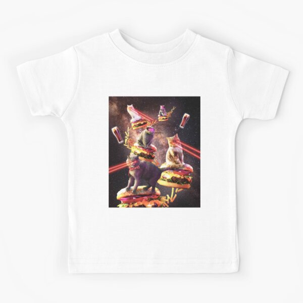 Galaxy Laser Cat On Burger - Space Cheeseburger Cats with Lazer Kids T-Shirt
