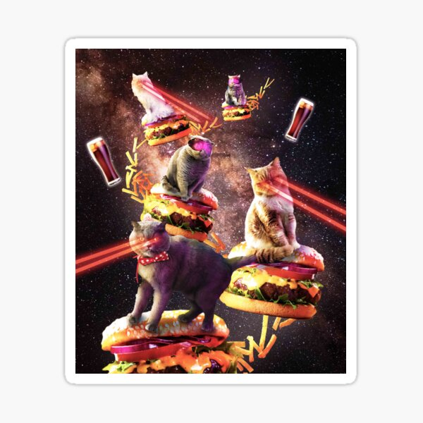 Galaxy Laser Cat On Burger - Space Cheeseburger Cats with Lazer Sticker