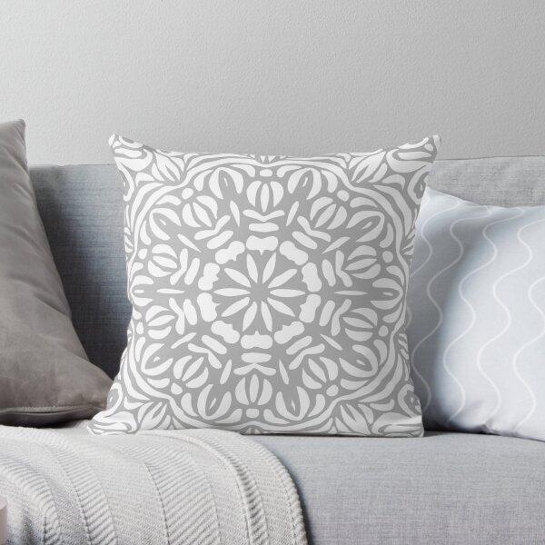 Grey & White Abstract Floral Frill Mandala Throw Pillow