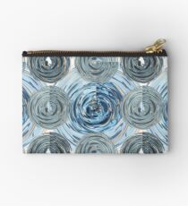 CRazy Oil PaintinG Blue/Grey Glass Zipper Pouch