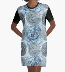 CRazy Oil PaintinG Blue/Grey Glass Graphic T-Shirt Dress