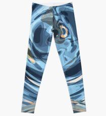 CRazy Oil PaintinG Blue/Grey Glass Leggings