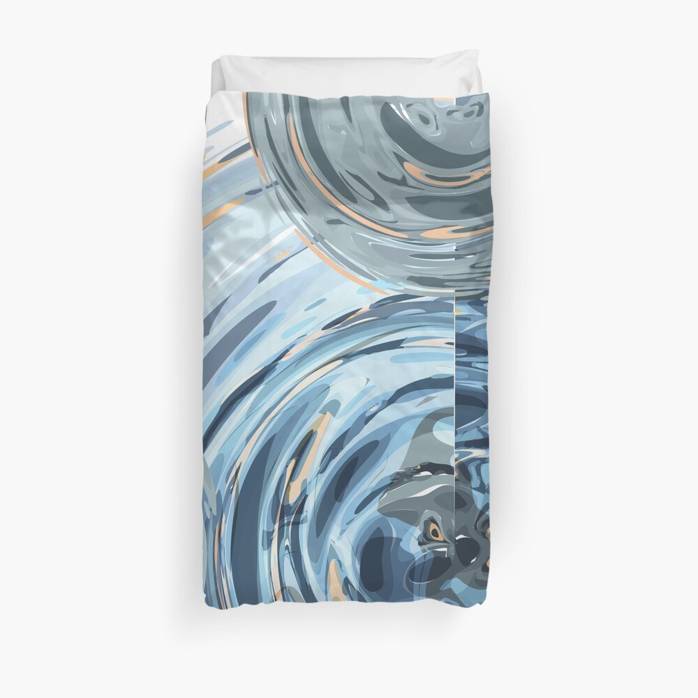 CRazy Oil PaintinG Blue/Grey Glass Duvet Cover