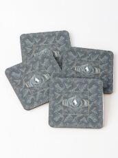 CRazy Oil PaintinG Blue/Grey Eye Coasters