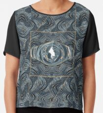 CRazy Oil PaintinG Blue/Grey Eye Chiffon Top