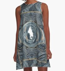 CRazy Oil PaintinG Blue/Grey Eye A-Line Dress