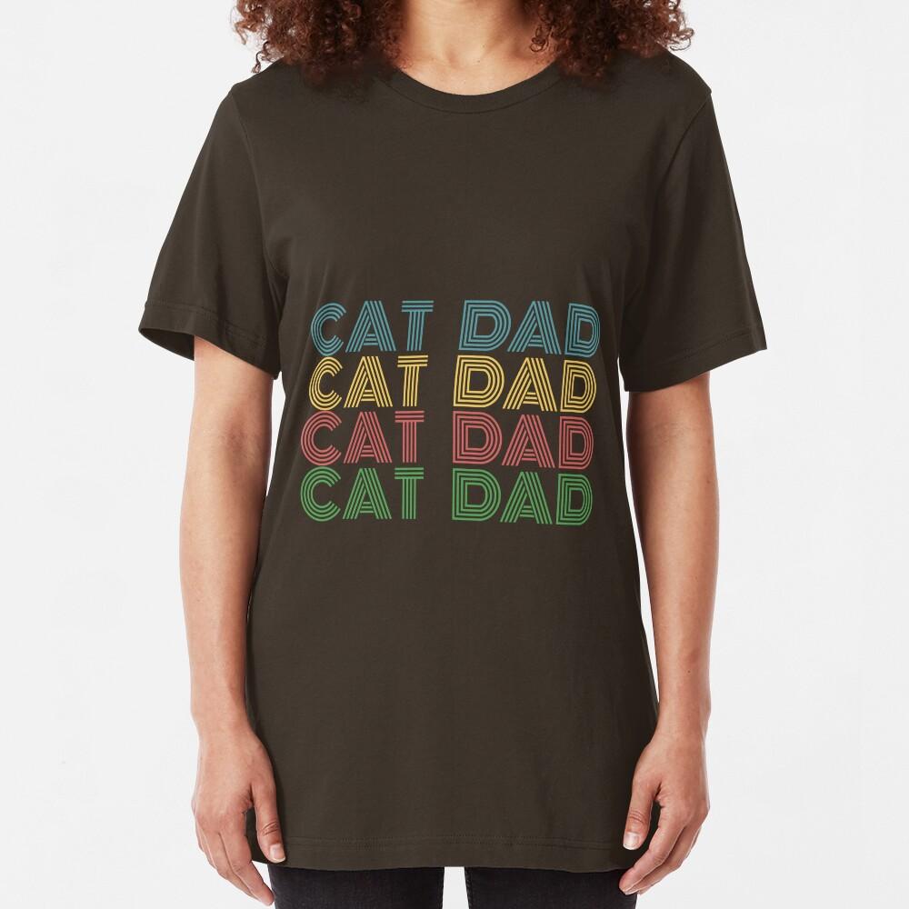 Cat Dad Retro Design Slim Fit T-Shirt