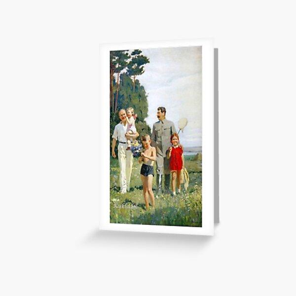 Stalin and Molotov with children, 1947. Artist: Yefanov, Vasili Prokofyevich (1900-1978) Stalins cult of personality #Сталин #ИосифВиссарионович #Ежов #Берия #Жданов #Молотов #Ленин #ГУЛАГ Greeting Card