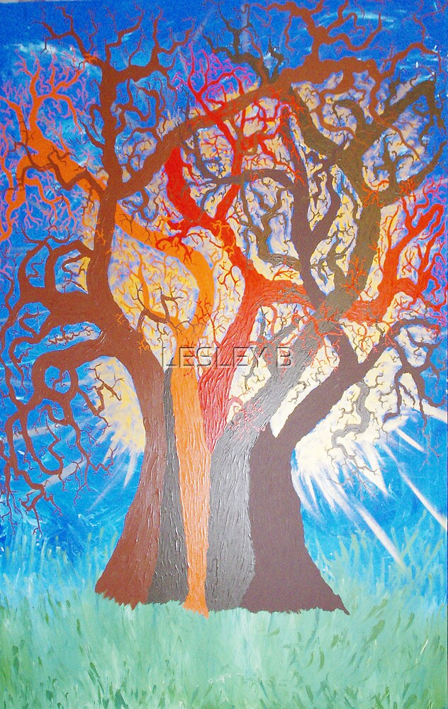 Next stages of TREE OF LIFE painting (Series 2) by LESLEY BUtler