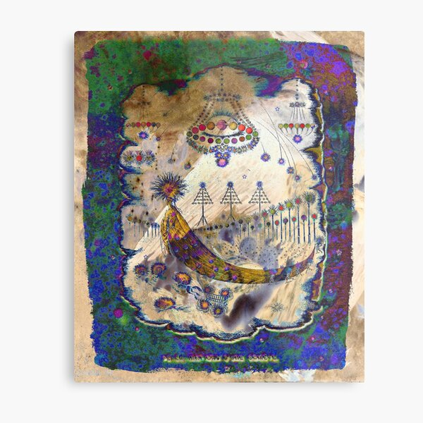'Wanderings Of A Comet' In Violet, Gold, Blue And Green Hues Metal Print