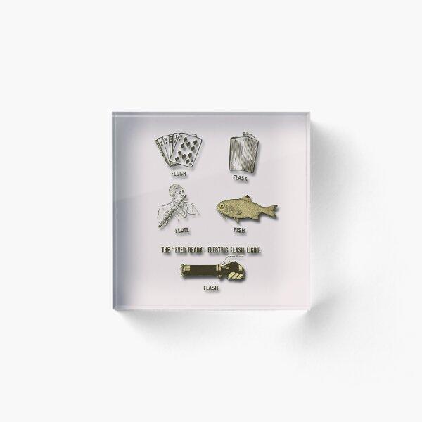 Flush, Flask, Flute, Fish, Flash Fun In Gold Tones Acrylic Block