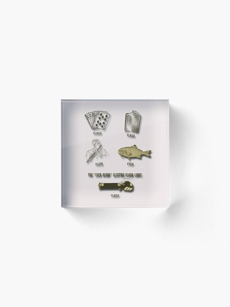 Alternate view of Flush, Flask, Flute, Fish, Flash Fun In Gold Tones Acrylic Block