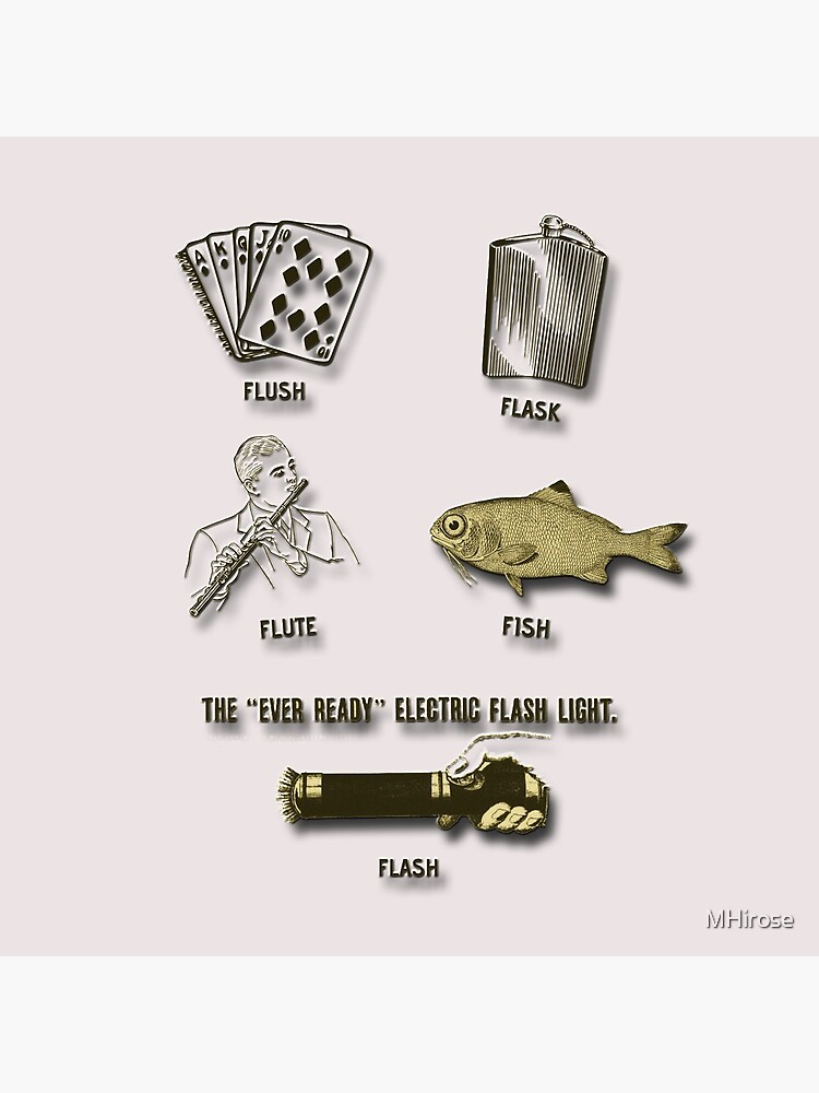 Flush, Flask, Flute, Fish, Flash Fun In Gold Tones by MHirose