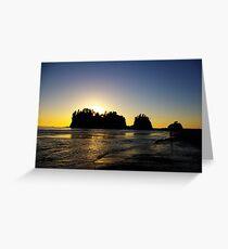 sun setting behind james island, washington, usa Greeting Card
