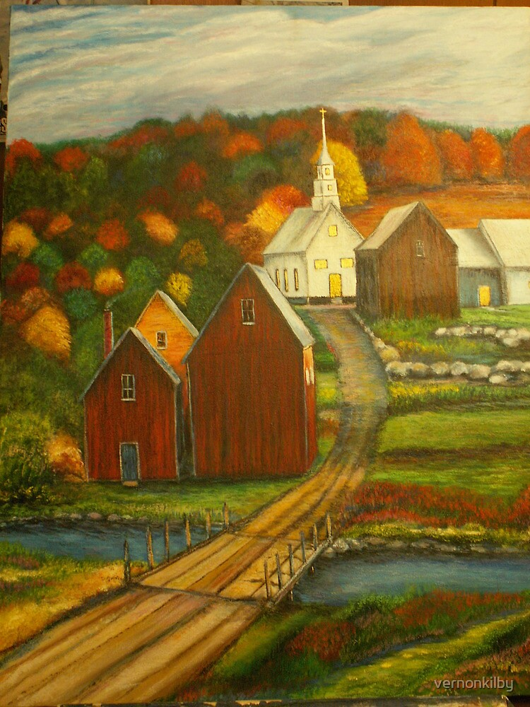 Small Town with Church by vernonkilby
