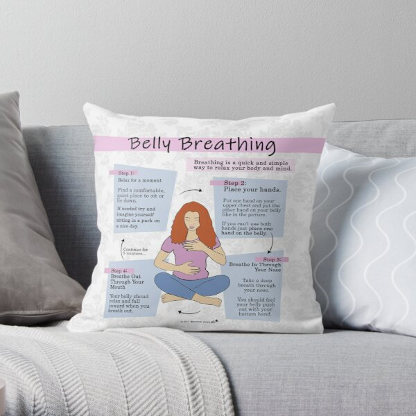 Belly Breathing - Self Care Throw Pillow