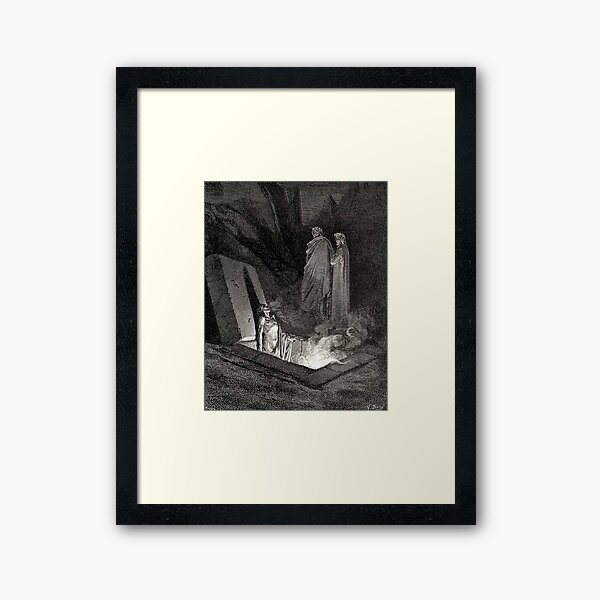 The Divine Comedy. Gustave Dore. Dante, Woodcut illustration, The Inferno, Canto 10. Framed Art Print