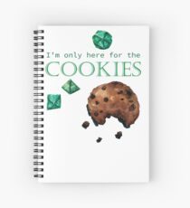 I'm only here for the cookies and dice - green Spiral Notebook