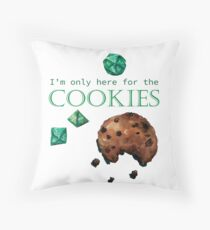I'm only here for the cookies and dice - green Throw Pillow