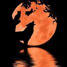 Happy Halloween Wolf, Hexe, Eule, schwarze Katze, Rabe und Mond von Stephanie Laird