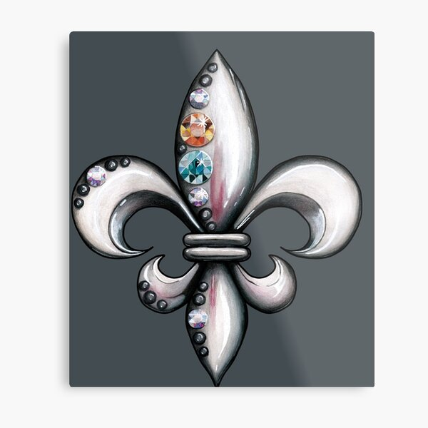 Jeweled Fleur de Lis on Grey Metal Print