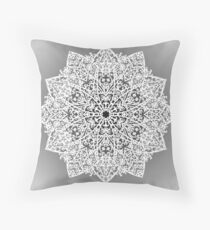 Filigree Mandala *white & grey* Throw Pillow