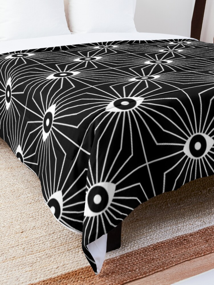 Alternate view of Electric Eyes - Black and White Comforter
