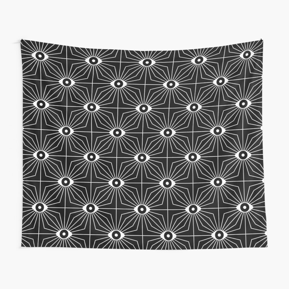 Electric Eyes - Black and White Wall Tapestry