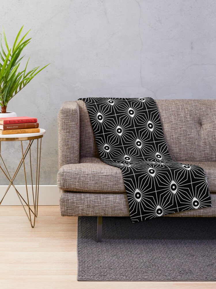 Alternate view of Electric Eyes - Black and White Throw Blanket