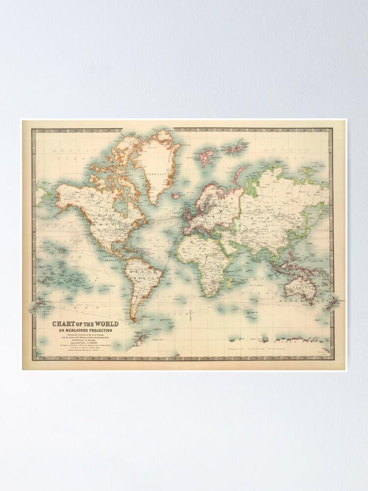 Vintage Old Historical Detailed World Map | Poster on