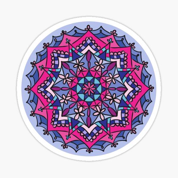 Pink, Purple, and Blue Mandala Design Sticker