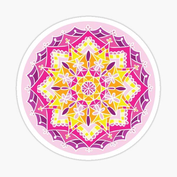 Yellow and Pink Mandala Design Sticker