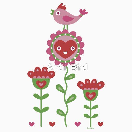 TShirtGifter presents: Happy - flowers bird hearts