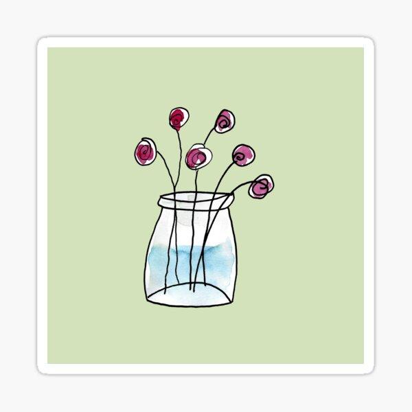 Pot de fleurs à l'aquarelle (fond vert pâle) Sticker