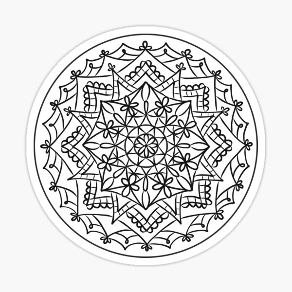 Black and white mandala design Sticker