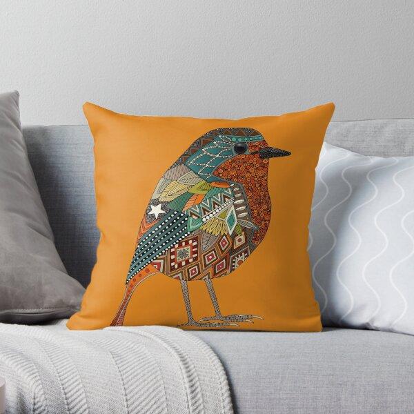 robin orange Throw Pillow